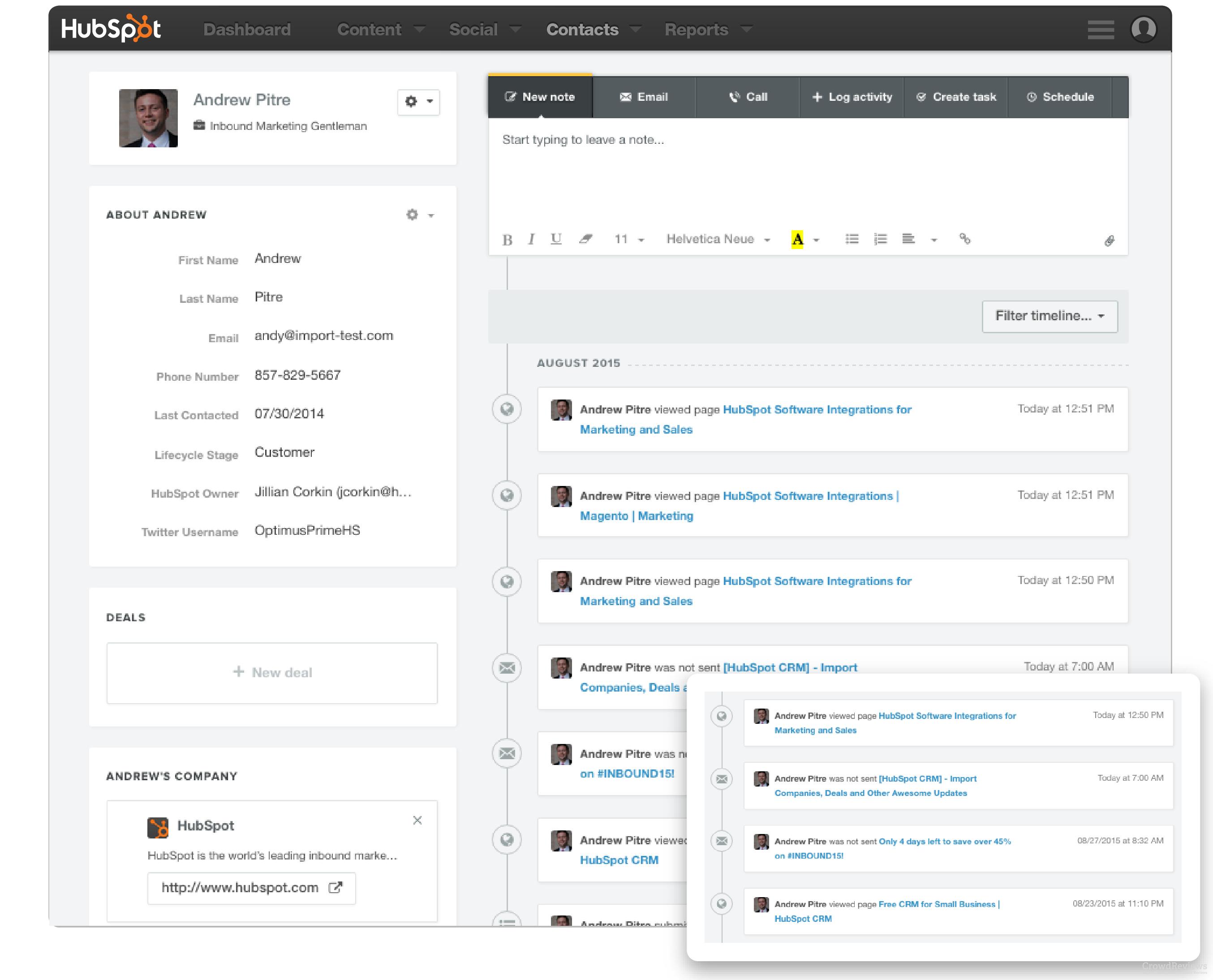 Hubspot client profile