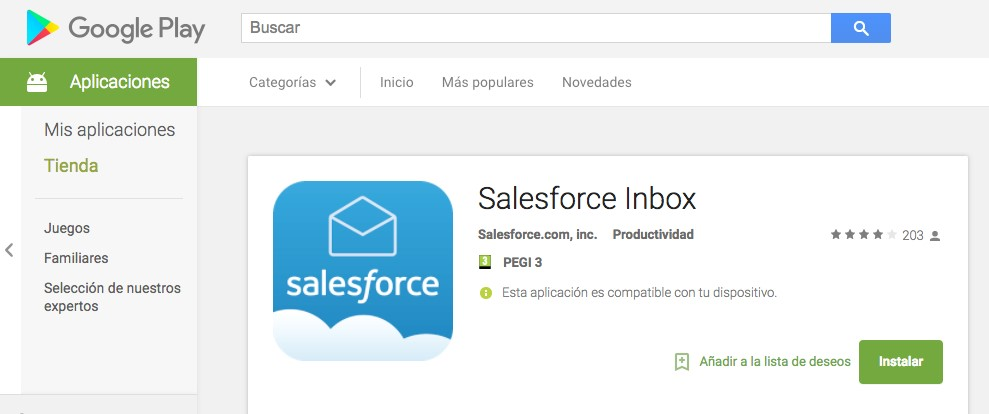 Salesforce inbox google play app