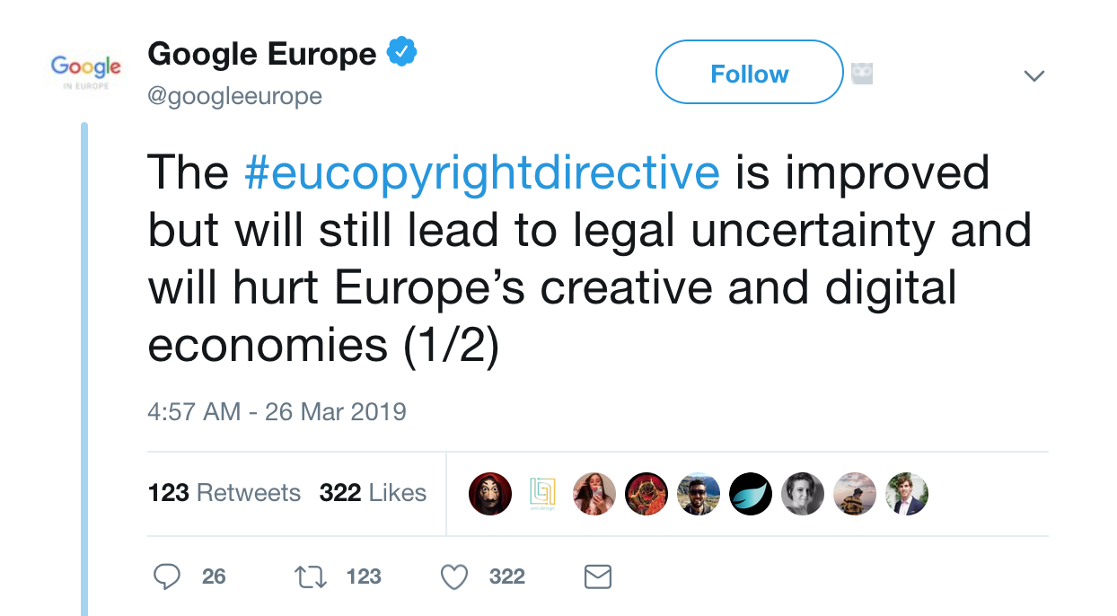 EU copyright article 13 Google tweet
