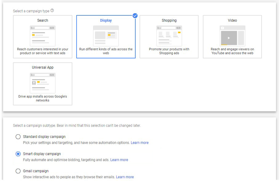 create smart display campaign on GoogleAds
